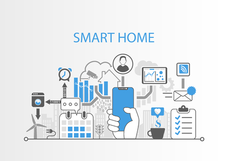 Smart home automation infographic as vector illustration
