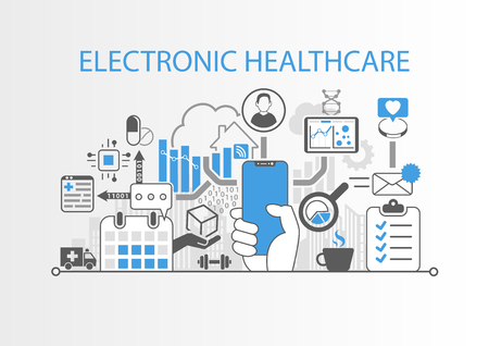 Electronic healthcare concept with hand holding modern bezel free smart phone