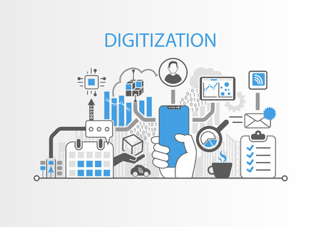 Digitization concept with hand holding modern bezel free smart phone Illustration