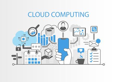 Cloud computing concept with hand holding modern bezel free smart phone Stock Illustratie