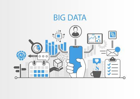 Big data concept with hand holding modern bezel free smart phone Stock Illustratie