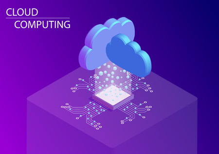 Cloud computing and as a service concept. 3d isometric vector illustration.