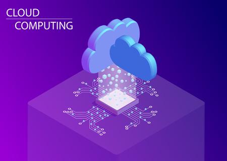 Cloud computing et en tant que concept de service. Illustration vectorielle isométrique 3D.