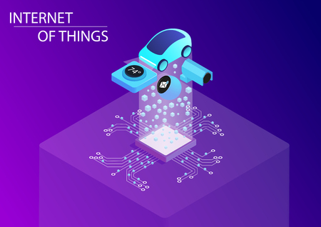 Internet of things / IOT concept with connected car and home devices. 3d isometric vector illustration.