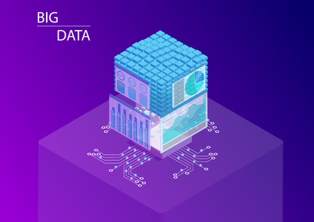 Big data and analytics concept with dashboards displaying information and data cube. 3d isometric vector illustration.