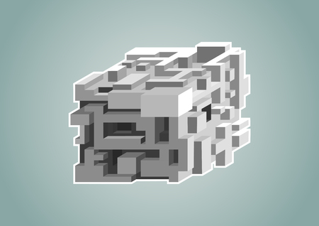 Complexity concept with isolated 3D cube as vector illustration Çizim