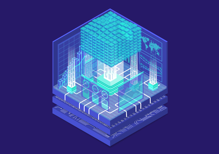 Big data and analytics concept with digital data cube and as isometric vector illustration Vettoriali