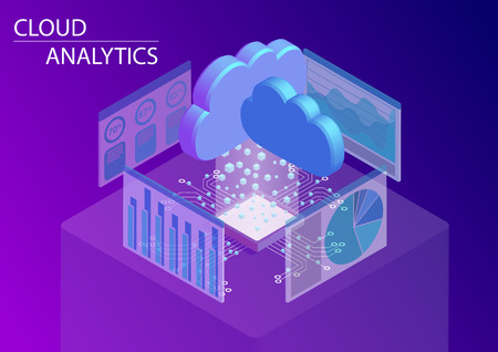 Cloud computing and on demand analytics concept. 3d isometric vector illustration.
