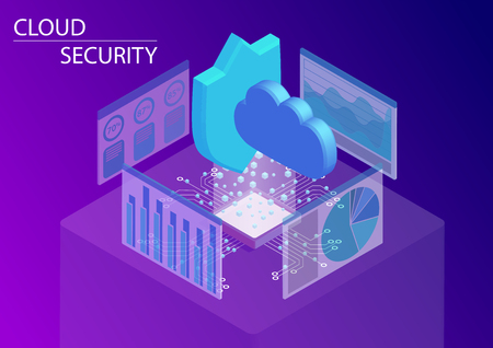 Cloud computing security concept. 3d isometric vector illustration.