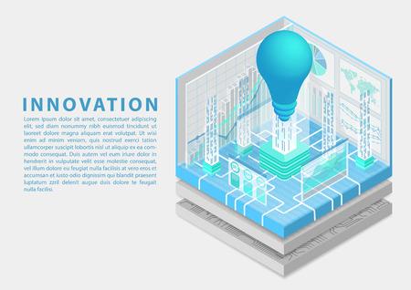Concept d'innovation commerciale numérique avec symbole d'ampoule et de tableau de bord comme illustration vectorielle isométrique