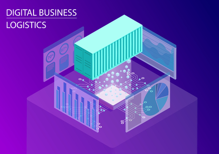 Digital business logistics concept. 3d isometric vector illustration with floating shipping containers for global trade and analytics dashboards 向量圖像