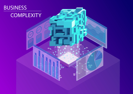Digital business complexity concept. 3d isometric vector illustration with floating complex multi-faceted cube