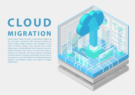 Concepto de migración a la nube con nube y flecha de carga como ilustración de vector 3d isométrica. Ilustración de vector