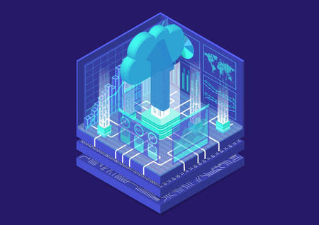 Cloud migration concept with cloud and upload arrow as isometric 3d vector illustration.