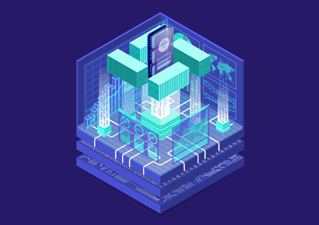 Application containerization and modular software development concept with symbol of smartphone and container as isometric vector illustration. Illustration