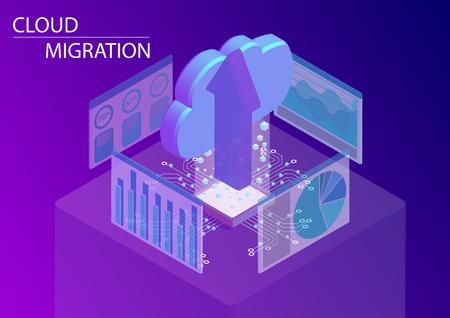 Concepto de migración a la nube. Ilustración de vector isométrico 3d con nube flotante y flecha Ilustración de vector