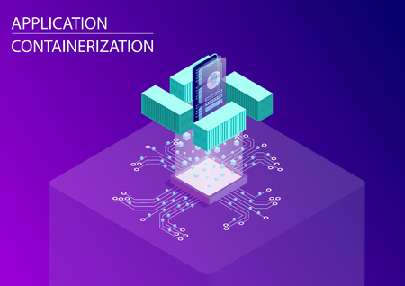 Software and application containerization concept. 3d isometric vector illustration with floating smartphone and containers as a symbol for modular web and mobile development