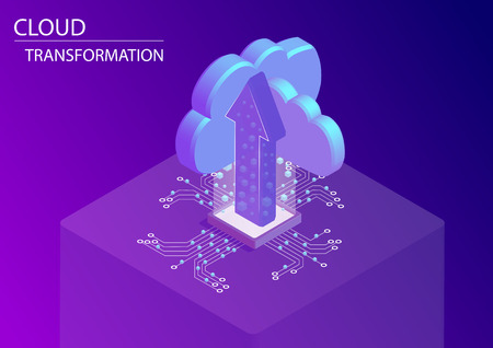 Concepto de transformación y digitalización en la nube. Ilustración de vector isométrico 3d con flechas flotantes y símbolos de nube