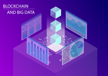 Blockchain and big data concept. 3d isometric vector illustration with floating blocks including monitoring dashboards Vettoriali