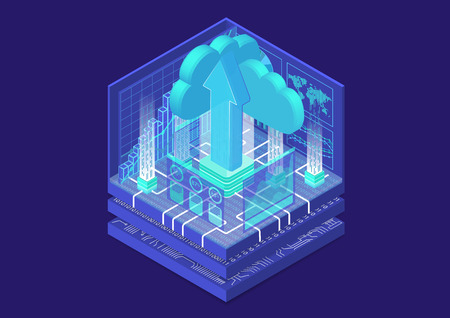 Cloud transformation concept with cloud and upload arrow as isometric 3d vector illustration