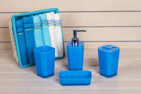 modern bathroom: Blue Modern Bathroom Accessories with towel basket