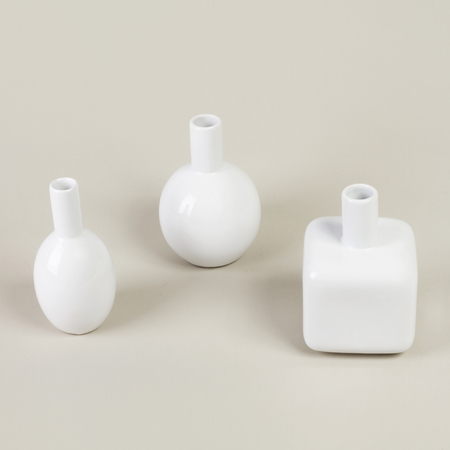 White Different Small Modern Vases For Decoration Stock Photo