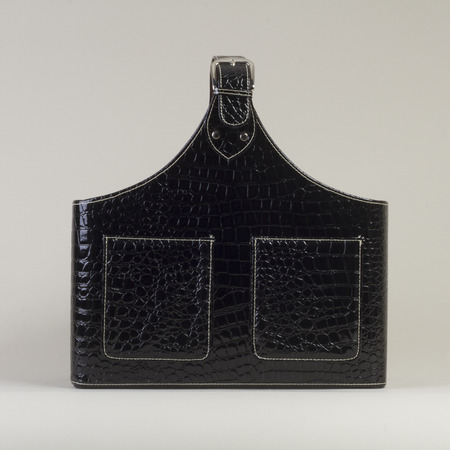 leather bag: Black Leather Bag design magazine holder