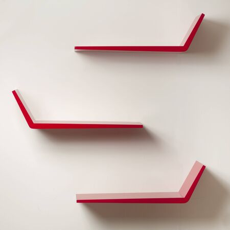 red wall: Red Wall Shelves