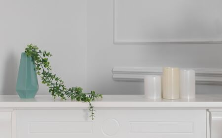 Green modern vase with 3 candles