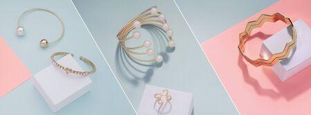 Diferentes diseños de pulseras doradas sobre fondo rosa y azul. Foto de archivo