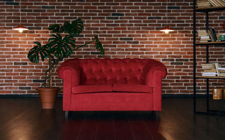 Red classic couch in loft style room with indoor plant