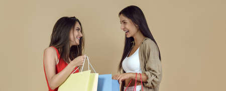 Two friends holding shopping bags and smiling