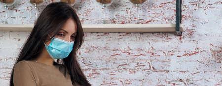 Portrait of a female worker wearing mask Stock fotó