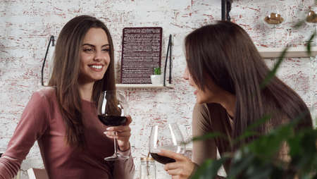 Two women having a glass of wine together