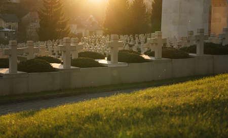 View of crosses grave stones on graves at sunset in lviv city in Ukraine Sajtókép