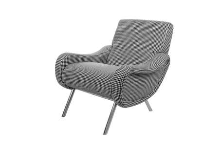 Black and white modern armchair isolated on white background