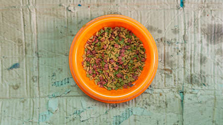 Flat lat or top view of cat diet food in a orange bowl with unfolded damages box as background.