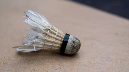 Old, damaged and dirty badminton shuttlecock on the floor. It has an open conical shape formed by feathers (or a synthetic alternative) embedded into a rounded cork (or rubber) base.