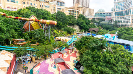 Subang Jaya, Malaysia - November 28, 2019: The aerial view of Sunway Lagoon water park in Bandar Sunway. The park consist Scream, Amusement, Wildlife, Lost World and Extreme Park.