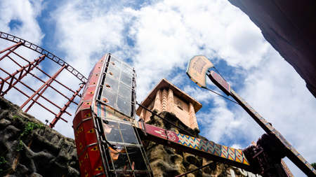 Subang Jaya, Malaysia - November 28, 2019: Tomahawk, a 360-degree rotating ride ship at Sunway Lagoon theme park in Bandar Sunway. See the world upside down. Not recommended for the faint-hearted. Editorial