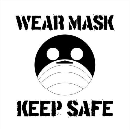 A round-shaped emoji man face with flu mask icon symbol. Concept for keep safe and wearing medical mask to prevent the spread of virus germs. Weak Mask Keep Safe text.