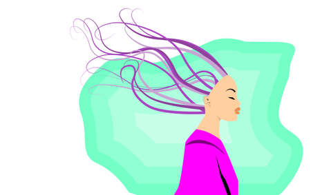 An illustration portrait of a beautiful female with curly hair in a blowing wind. Copy space for text and tagline. Illustration