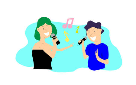 An illustration of a male and female singing in duet together, karaoke party, contest, competition, cartoon at the karaoke box with space for text. Couple relationship activity.