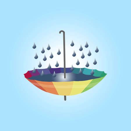 Rainbow umbrella saving water campaign illustration concept. Rainwater droplet harvesting to colorful umbrella.