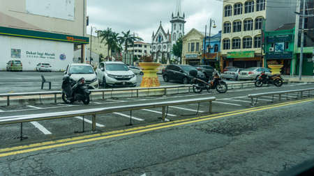 Seremban, Malaysia - June 13, 2020: Designated area for motorcycle parking at the town of Seremban.