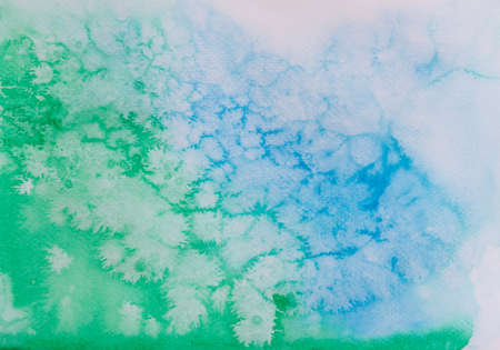 Abstract pattern of watercolor hand painting, drawing in green and blue colors  for concept snowflake background Banque d'images - 152562962