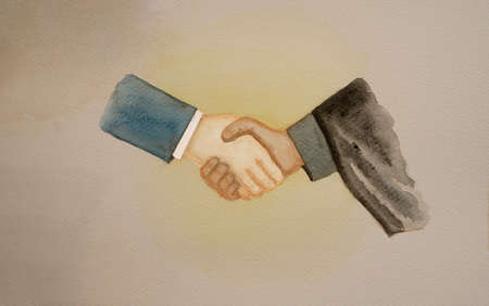 Watercolor hand painting of a white guy wear blue suit doing handshake with dark skin man waring black suit, concept for American leader and Iran will be armistice agreement and surcease the war for peace