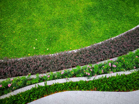 Top view image, fresh green Burmuda grass smooth lawn as a carpet with curve form of colorful flower and bush, good care maintenance landscapes in a garden Foto de archivo