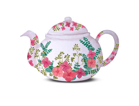 Traditional vintage white tea pot with pink flower bouquet painted, illustration water color drawing on white background and clipping path Stock Photo