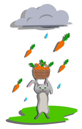 Carrot rain for gray hare. Vector illustration Vector